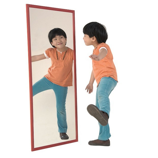 Espejo Infantil Marco Madera Tintada B Mobiliario Escolar