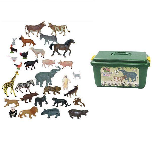 IAJDIM1-25140 animales de granja y salvajes juguete 30-figuras