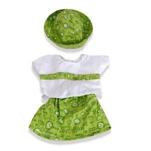 IAJDIM1-31532 Traje verde niña con gorro para muñeca